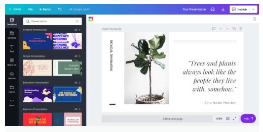 Créer présentation avec Canva